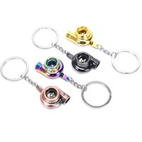 Keychains Real Whistle Sound Turbo Keychain Sleeve Bearing Spinning Auto Part Model Turbine Turbocharger Key Chain Ring Keyfob Keyring