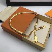 Brass Chennes Nanogram Design Design Snake Catena 18K Gold Collana Inciso Metallo in metallo Modello Flower Bracelet Bracciale End End Monili di moda