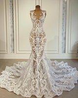2021 Plus Size Arabic Aso Ebi Vintage Sexy Lace Wedding Dresses See Through Mermaid Bridal Dresses Sheer Neck Wedding Gowns ZJ266