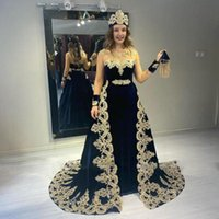 Scoop Neck Long Sleeves Velvet Mermaid Evening Dresses with Beadeds Appliques Overskirt Formal Prom Gowns Robe De Soiree
