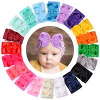 Baby Girls Bow Headbands Kids Solid elastic Bowknot Hairbands Hair Accessories Grosgrain Hair band turbon knot Headdress 20 Colors KHA157