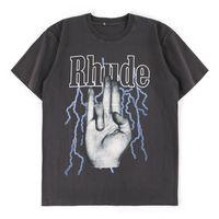 2021 T-shirt rhude Hommes lavés Do vieil streetwear T-shirts Style d'été Top Top Rhude de haute qualité