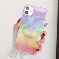 Allchw Gökkuşağı Yıldız Bling Glitter Braketi Kapak iphone 12pro11 için PROMAX XSMAX 6 6 S Artı 7 Artı 8 Artı Standı Tutucu Telefon Kılıfı