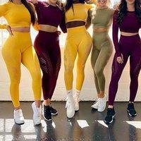 2 Adet Dikişsiz Yoga Seti Kadınlar Hollow Out Uzun Kollu Yoga Gömlek Spor Yüksek Bel Spor Salonu Örgü Tayt Koşu Sportwear Suit 2021