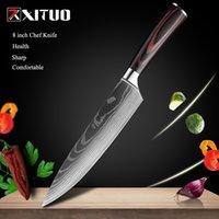 """DHL 8 """"inç Japon Mutfak Bıçaklar Lazer Şam Desen Şef Bıçak Keskin Santoku Cleaver Dilimleme Utility Bıçaklar Aracı EDC YENI"""