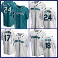 Seattle Beyzbol Jersey Mariners Özel 24 Ken Griffey Jr. 51 Ichiro Suzuki 11 Edgar Martinez 17 Mitch Haniger 34 Hernandez 15 Kyle Seager