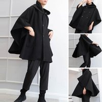 Men's Trench Coats 2021 Fashion Men Cloak Loose Capes Hooded Double Breasted Solid Winter Streetwear Mens Ponchos Outerwear INCERUN