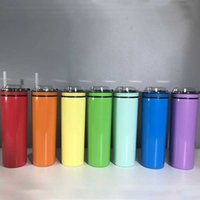 20oz Rainbow Colors Vacuum Insulated Cold Drinking Bottle Coffee Skinny Tumblers With Snacks Lid Stainless Steel Tapered Ice Chiller Cups