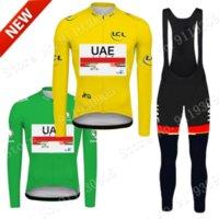 UAE France Tour Leader 2021 Cycling Jersey Set Clothing Suit Summer Mens Long Sleeve MTB Bike Road Pants Bib Maillot Culotte