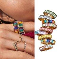 Mode Frauen volle Rechteck Strass Inlaid-Stapel Midi Ring Schmuck Geschenk
