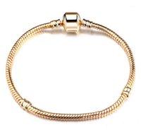 Charm Bracelets 925 Sterling Silver 3mm Snake Chain Fit Pandora Charms Bead Bangle Bracelet Fashion Jewelry DIY Bangle For Men W