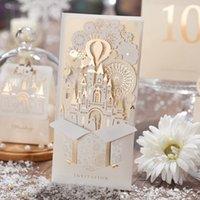 50 adet Lazer Kesim 3D Şampanya Altın Düğün Davetiyeleri Kartları Ile Hollow Yaratıcı Kale Nişan Gelin Duş CW5093 Için