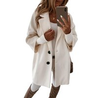 Women's Wool & Blends Women 3 4 Sleeve Solid Color Faux Coat Lapel Buttons Loose Midi Outerwear D08E