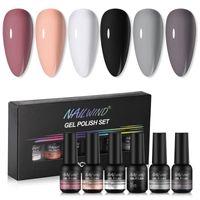 Kit nail art kit nailwind manicure gel set 6pcs / ket 8ml ibrido semi ibrido semi permanente a led base top coat per polacco