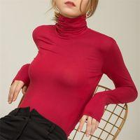 Chohill Fall Slim Fit Осенние повседневные модальные базы с длинным рукавом футболки женщины водолазки элегантные сплошные цветные вершины для женщин плюс размер 210315