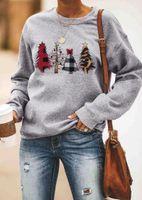 Women's Hoodies & Sweatshirts Women Sweatshirt Autumn Christmas Tree Loose O-neck Print Letter Casual Long Sleeve Simple