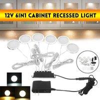 6шт / комплект 12V 5W LED под кабинетом светильники регулируемая кнопка витрина для лестницы кухня ванной шкаф ночной свет