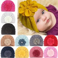 INS Toddler infants india hat kids Autumn winter flower Beanie hats baby knitted caps turban for boys girls