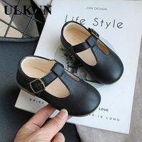 أحذية طفل فتاة ulknn الخريف أحذية جلدية جديدة كيد حلوى لون زلة لينة أسفل الطفل الأميرة 1-2-3 سنوات من العمر 210312
