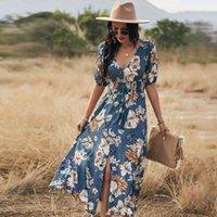 Kısa Kollu Maxi Bölünmüş Elbise Yaz Plaj Boho Baskı Seksi V Yaka Çiçek Uzun Elbiseler Kadınlar Casual Gevşek Parti Zarif Robe