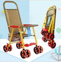 Çocuk arabası taklit bambu ve rattan arabası hafif katlanır basit rattan bebek yaz yeni bambu ve rattan arabası