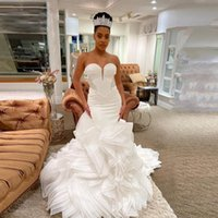 Other Wedding Dresses Sexy Strapless Ruched Mermaid South African Sweetheart Bridal Gowns Lace Up Back Vestidos Custom Made
