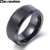 Групповые кольца Davieslee Мужская взаимодействие Матовая отделка вольфрама карбид черное обручальное кольцо для мужчин ювелирные изделия мода подарок 8 мм LTR04