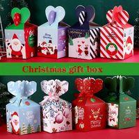 Christma maçã caixa embalagem caixas saco de papel criativo natal véspera xmas presente case candy varejo 4966