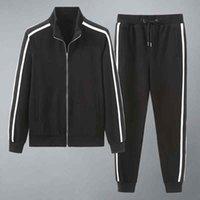 Мужчины дизайнеры толстовки брюки набор с капюшоном Coussuit Мужские потные костюмы лоскутное черное сплошное цвет 21ss осень зима 2шт толстовки спортсмены