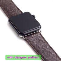 Designer Watch Band Strap för Apple Series 1 2 3 4 5 6 38mm 40mm 42mm 44mm PU Läder Smart Klockor ersättning med adapterkontakt