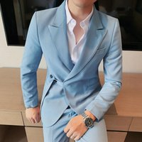 Men's Suits & Blazers Korean Bubble Skinny Suit Smoking Homme Mariage Terno Masculino Italian Mens Designers 2021 Two Piece Jacket+pant