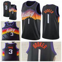 PhönixSonnen?Mens Devin 1 Bookorer Jersey Chris 3 Paul Basketball-Trikots 2021 Swingman City Stitched Edition Black Trikots