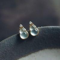 Stud Designer Original Silver Inlaid Natural Chalcedony Gourd Earrings Retro Elegant Light Luxury Charm Female Jeweler