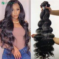 Human Hair Bulks 30 Inch Peruvian Body Wave Bundles Virgo Weave Deal 150 Density 1B Remy Extension Wholesale