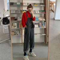 Women's Jumpsuits & Rompers Denim Retro Trousers Loose Solid Color Overalls Female Korean Student Style Woman Street Jeans ZDTM