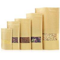 14 tamanhos alimento barreira de umidade sacos embalagens bolsa de selagem marrom papel kraft doypack bolsa com janela clara 192 s2