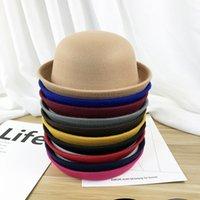 Küçük Kızlar Fedora Şapka Dome Cap Çocuk Elbise Şapka Çocuklar Caps Keçe Şapkalar Yün Keçe Melring Şapkalar Kadınlar Örgün Şapka Erkekler Stingy Brim Şapka 71 T2