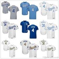 Оптовая продажа пользовательских мужчин Женщины молодежи KC Royals Джерси № 4 Алекс Гордон 31 Ян Кеннеди синий серый бейсбол