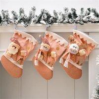 Calcetines rosados Decoraciones de árbol de Navidad Muñeca de dibujos animados Vestido de vacaciones Pendant Candy Bocadillos Bolso de regalo para niños