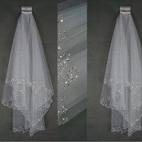 Wedding Veils Short Wedding Bridal Veil 2 Layer Handmade Crystal Beaded Elbow Length Bridal Accessories Veil White Ivory