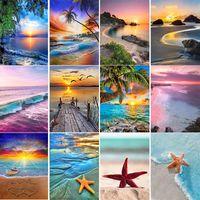 5D Diamond Painting Seaside Scenery DIY Beach Shell Cross Stitch Round Diamonds Starfish Home Decoration Paintings