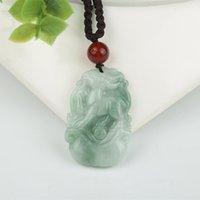 Birma Jadeit Wisiorek Ręcznie Rzeźbione Lucky Amulet Chiński Zodiak Jade Naszyjnik z łańcuchem Dla Mężczyzn Kobiety Prezent Drop Shipping 0215