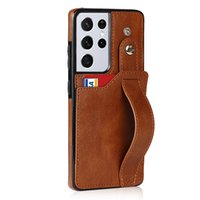 Wristband Leather Phone Case for Samsung S21FE S20 Ultra S21 Plus Note20 A32 A72 A52 A22 A82 5G Card Slot Clutch Purse Kickstand Sturdy Business Protective Shell