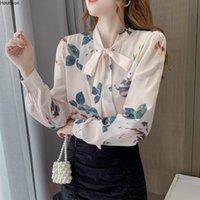 Women's Blouses & Shirts Houthion Silk Fashion Printed Shirt Korean Long Sleeve Top Loose Casual Blusas Bow Full Regular