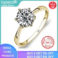 Cluster Rings YANHUI Classic Six Claw Gold Color Ring 6mm Zirconia Wedding For Bridal Christmas Gift Women Jewelry Engagement