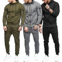 Men's Tracksuits Mens Zipper Set 2021 Men Sweat Suit Brand Clothing Male Solid Jogger Outfits Sweatshirts And Pants Casual Gym