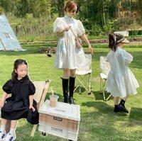 Familie Matching Outfits Süße Mädchen Revers Puff Sleeve Prinzessin Kleid Sommer Mutter und Tochter Strand Urlaub Kleidung Q0174