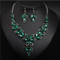 Earrings & Necklace Classic Bridal Jewelry Sets Water Drop Crystal Flower Choker Set For Women Party Wedding Gift