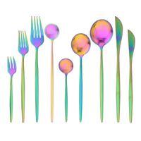 Conjuntos de vajilla Jankng Set de cubiertos de arco iris Conjunto de cubiertos de acero inoxidable Cuchillos de oro Tenedor Cuchara Silbowware Vajilla
