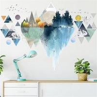 Heatboywade Nordic Ins estilo Dreamy Mountain Mountain Etiquetas de Pared Sala de estar Dormitorio Vinilo Arte Tecas de Pared Creativa Decoración de Hogar Y0805